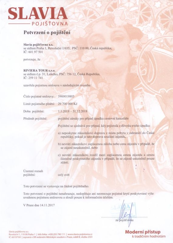 Pojištění proti úpadku CK RIVIERA TOUR na rok 2018