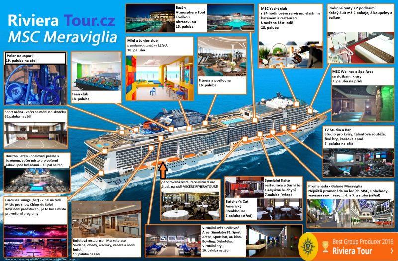 MSC MERAVIGLIA-orientační plánek-RIVIERA TOUR